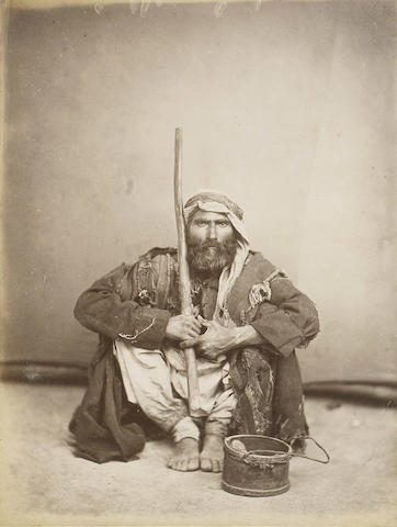 """EGYPT and PALESTINE Two albums containing 132 albumen prints, including 43 views of Egypt (23 Beato, 9 Sebah), others of the Palestine (Jerusalem, Petra, Sinai, including several by Bonfils), and 14 """"native types"""", [1880s]"""