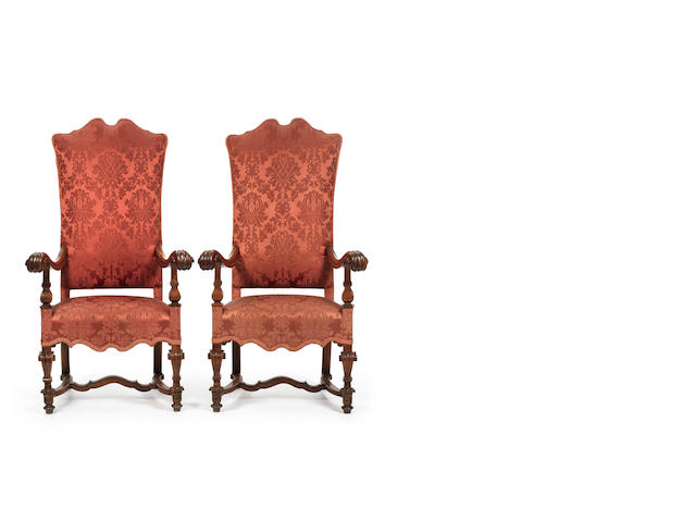 a pair of 19th century Flemish  armchairs in the Renaissance style