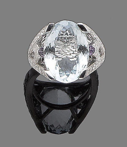An aquamarine, amethyst and diamond dress ring