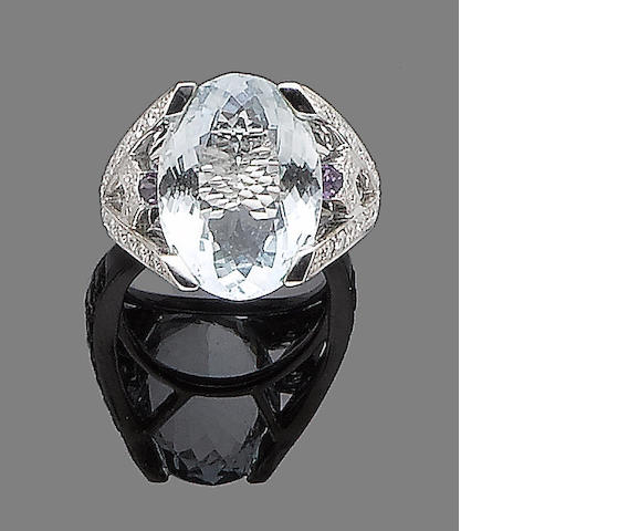 An aquamarine, amethyst and diamond dress ring