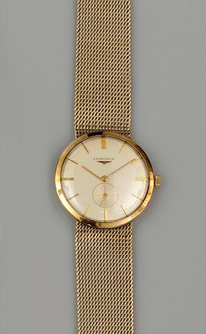 Longines: A 9ct gold gentleman's wristwatch