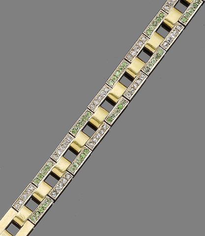 A demantoid garnet and diamond-set bracelet,