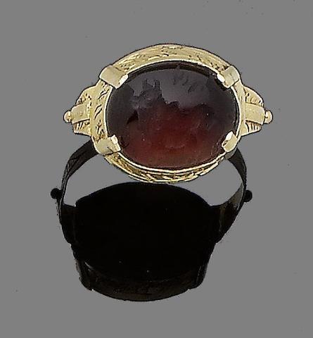A cornelian intaglio ring