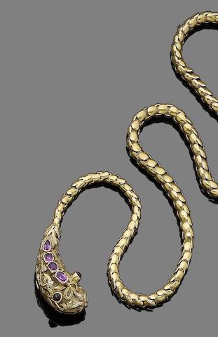 A ruby-set serpent necklace