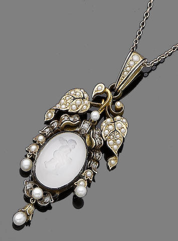 A moonstone intaglio, seed pearl, enamel and diamond pendant necklace