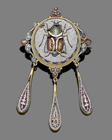A mid 19th century micromosaic brooch,