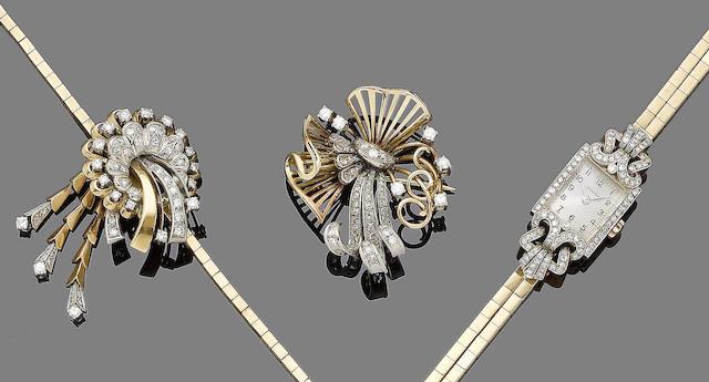 A diamond-set brooch, brooch/pendant necklace, and wristwatch,  (4)