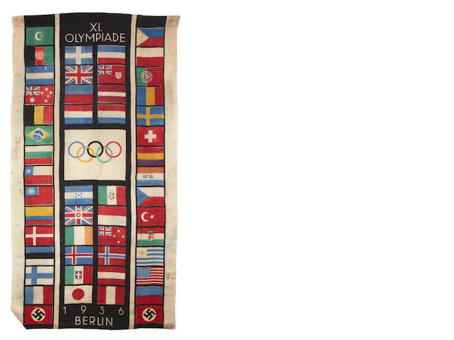 1936 Berlin Olympics A fabric banner depicting the flags of all the competing nations, [1948]