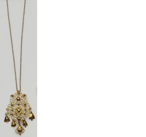 A late 18th century Continental diamond set pendant