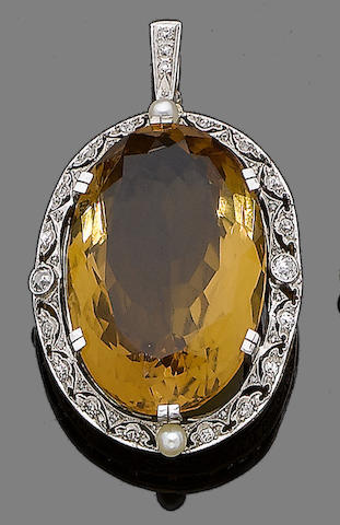 A citrine, cultured pearl and diamond pendant