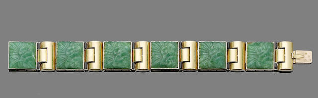 An art deco gold, enamel and green glass bracelet,