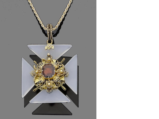 A chalcedony and garnet-topped doublet Maltese cross pendant/brooch necklace