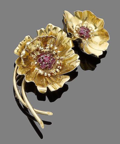 A ruby brooch, by Van Cleef & Arpels