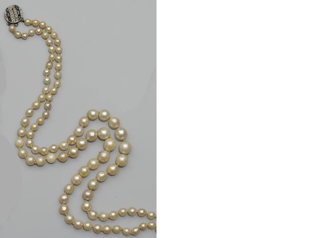 A two strand cultured pearl necklace