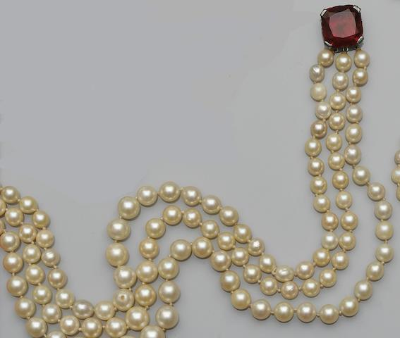 A three strand cultured pearl necklace
