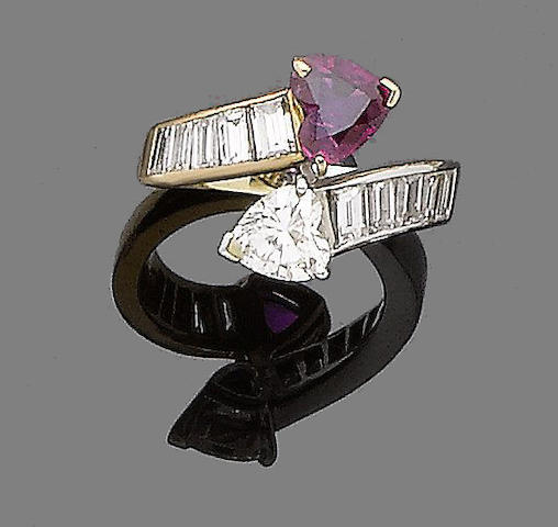 A diamond and ruby crossover ring