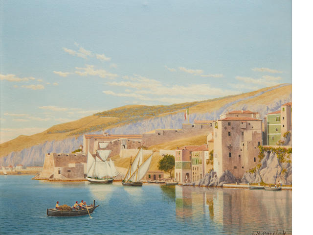 John Mulcaster Carrick oil view of Villefranche sur mer