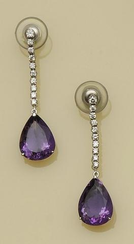 A pair of amethyst and diamond earpendants