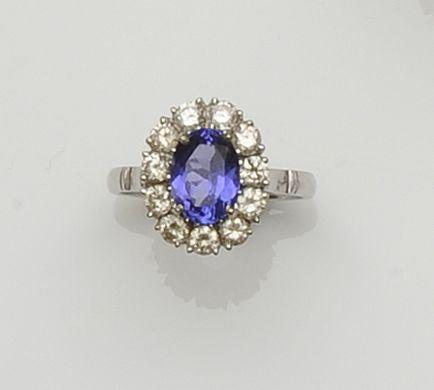 A tanzanite and diamond cluster ring
