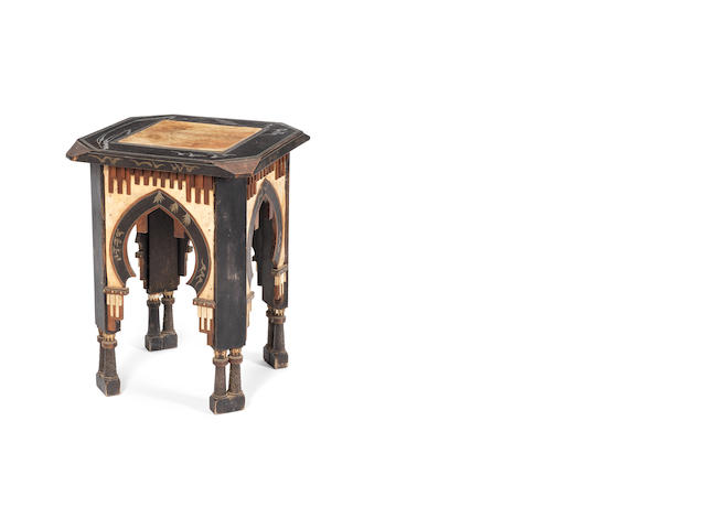 Carlo Bugatti velum, inlaid occasional table, circa 1910, inlaid with copper, pewter & ebony