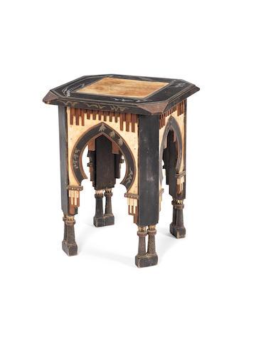Carlo Bugatti velum, inlaid occasional table, circa 1910, inlaid with copper, pewter & ebony