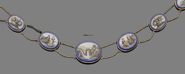 A gold and blue glass micromosaic demi-parure, (3) (partially illustrated)