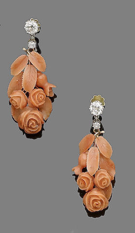 A pair of coral and diamond pendent earrings