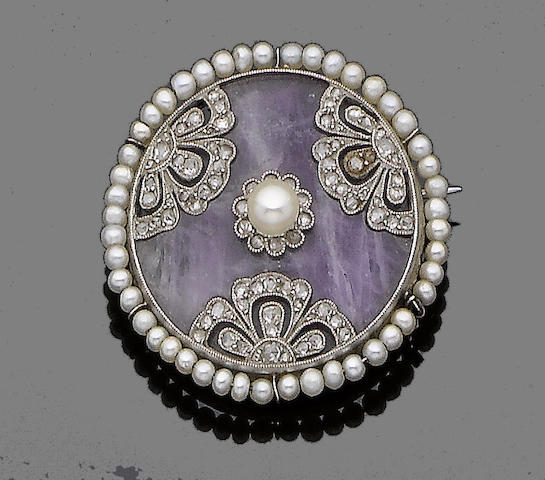 A belle époque seed pearl, diamond, and amethyst brooch,