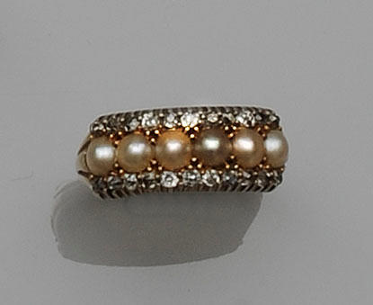 A pearl and diamond triple row half hoop ring