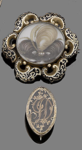A pair of mid 19th century gold and enamel memorial brooches/pendants (2)