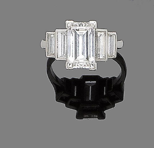 A step-cut diamond ring