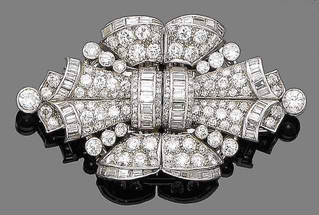 An art deco double clip brooch,