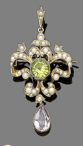 A peridot, pink topaz and seed pearl brooch/pendant,