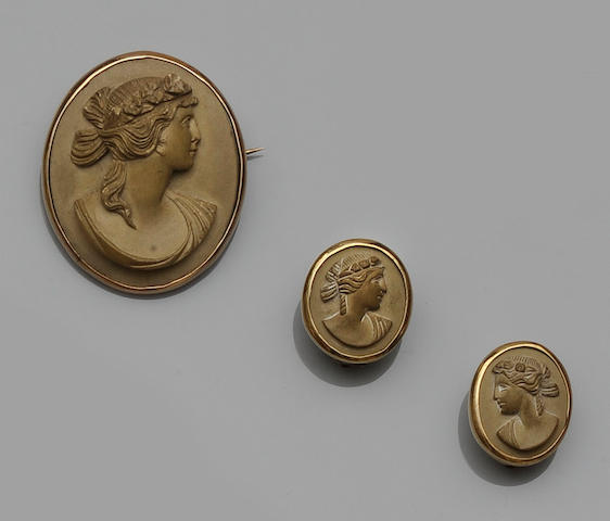 A suite of lava cameo jewellery