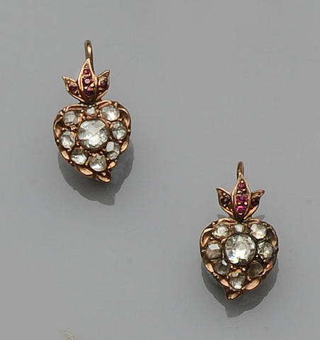 A pair of diamond and ruby earpendants