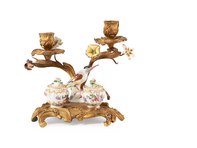 A late 19th century gilt bronze and porcelain mounted inkstand