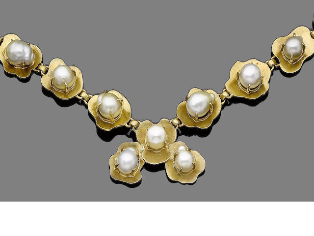 A cultured pearl necklace, bracelet, ring and earring suite (4) (partially illustrated)