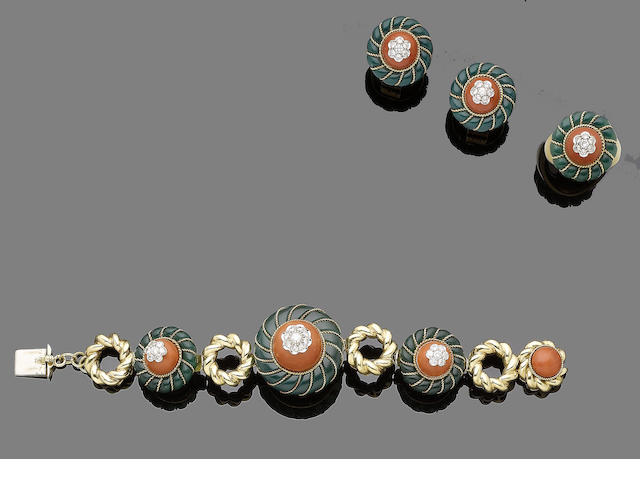 A coral, chrysoprase and diamond gold necklace, bracelet, earrings and ring suite, by Garrard & Co., (4) (partially illustrated)
