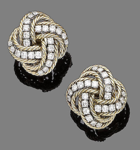A pair of diamond earclips, by Boucheron
