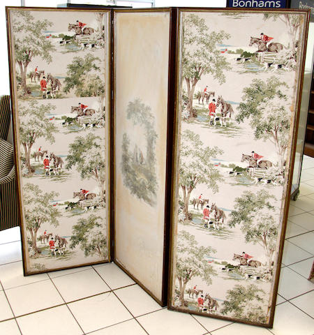 A Victorian three fold scrap screen,