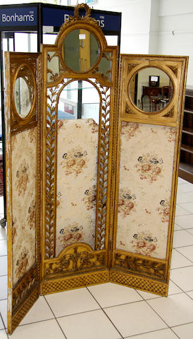 A 19th Century gilt three fold screen,