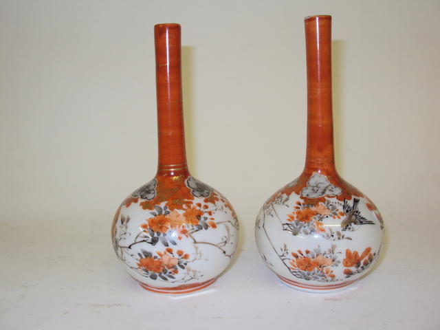 A pair of Kutani bottle vases