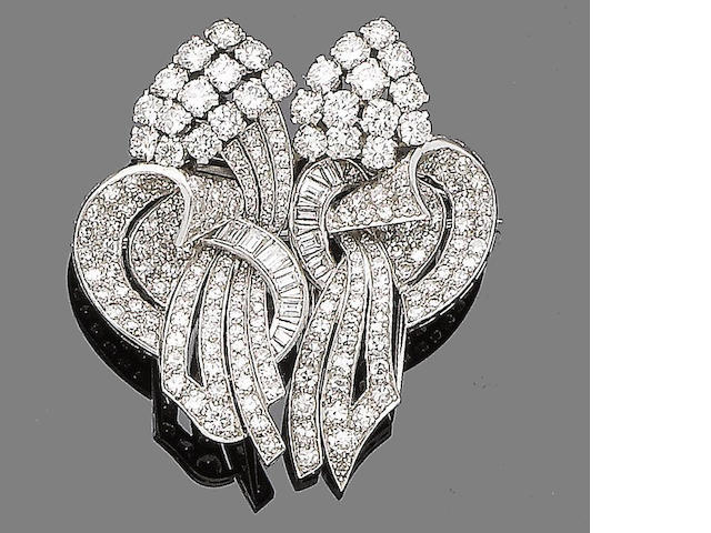 A diamond double-clip brooch,