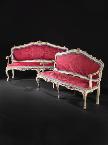 A pair of large North Italian 18th century parcel-gilt, turquoise and white painted canapés à chassis