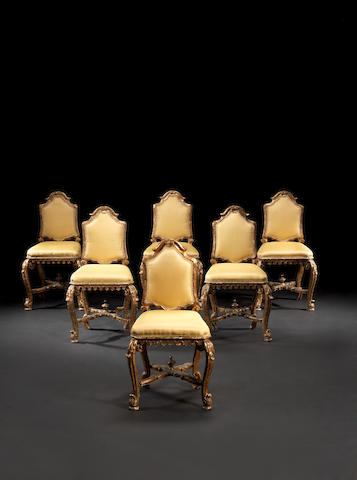 A set of six Venetian 18th century giltwood chairs