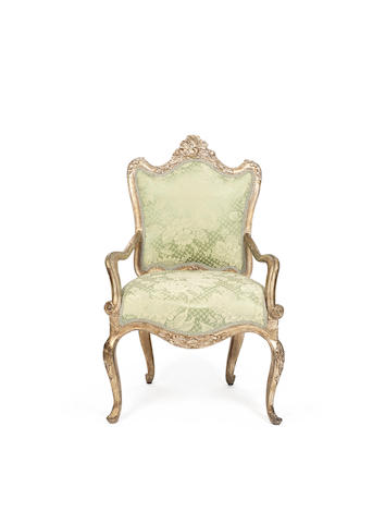 A Venetian 18th century silvered armchair