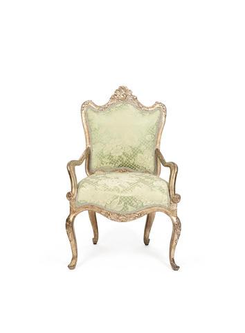 A Venetian 18th century silvered armchair
