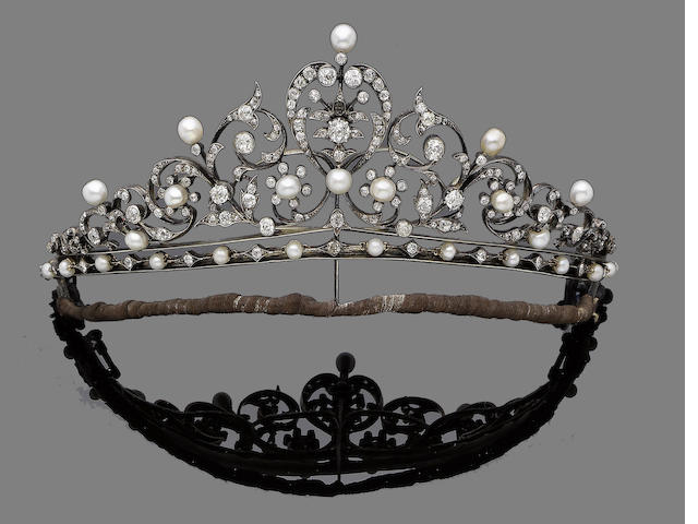 A diamond and pearl tiara,