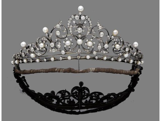 A diamond and pearl tiara,