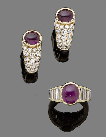 A ruby and diamond ring and earring suite (2)
